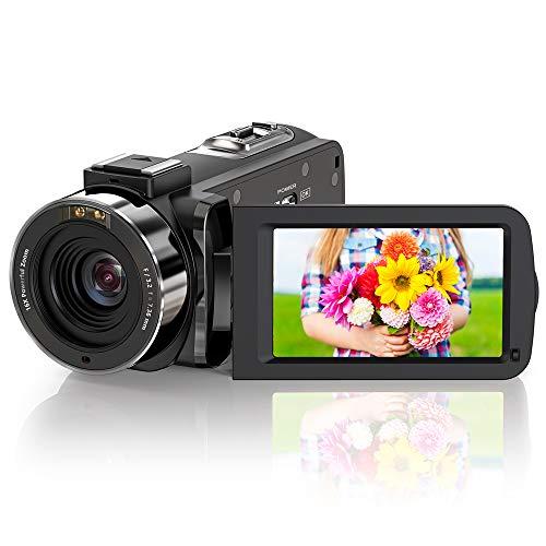 ZORNIK Videocamera,IR Visione Notturna Vlogging Camera HD 1080P 36MP 16X Zoom Digitale 3.0 Pollici LCD 270 Gradi Schermo Girevole con Telecomando (1080P)