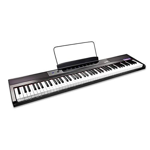 RockJam Tastiera per pianoforte digitale a 88 tasti con tasti semi-pesati, alimentatore, leggio per spartiti, adesivi per note per pianoforte e lezioni tramite l'app Simply Piano