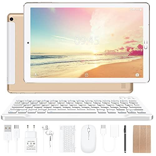 YESTEL Tablet 10 Pollici Tablet Android 10.0 con 4 GB di RAM + 64 GB di Rom - WiFi   Bluetooth   GPS, 8000 mAh, con Mouse   Tastiera e Cover-Dorato