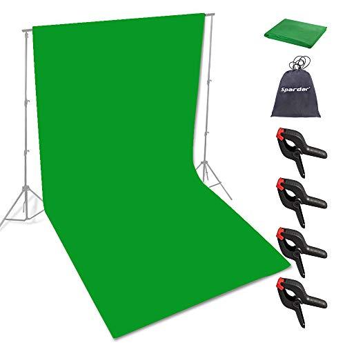 Spardar Sfondo dello schermo Meno rughe Sfondo pieghevole (6.5 * 10FT / 2 * 3 M verde) per ritratti, fotografia di prodotti e riprese video