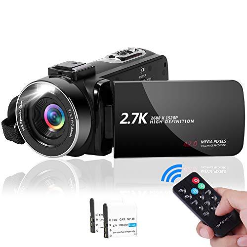 Videocamera Videocamere 2.7K 42MP con Luce Di Riempimento a LED, videocamera con Zoom Digitale 18X Videocamera per Vlogging con Schermo LCD da 3,0