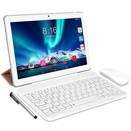 Tablet 10 Pollici 8 Core- TOSCIDO Android 10.0 Certificato da Google GMS Tablet 4G LTE,4 GB di RAM e 64 GB, Doppia SIM,GPS,WiFi,Ttastiera Bluetooth,Mouse,Custodia per Tablet e Altro Incluso - Silver