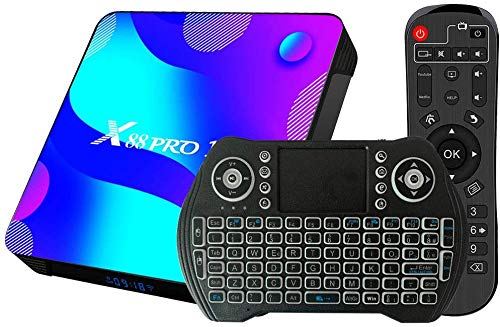 Magcubic Android 11 TV Box 4GB RAM 32GB ROM Set Top Box Smart TV Box RK3318 USB 3.0 1080P Ultra HD 4K HDR WiFi 2.4GHz 5.8GHz BT 4.1 TV Box Android con Mini Tastiera Senza Fili Retro Illuminata