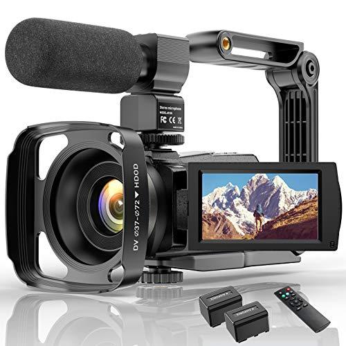 Videocamera 4K Wifi Videocamera Digitale Full HD YouTube Vlogging Registratore,IR Night 48MP 16X Zoom Digitale 3.0 Pollici Videoregistratore Touch Screen Ruotabile 270 ° con Telecomando per Microfono.
