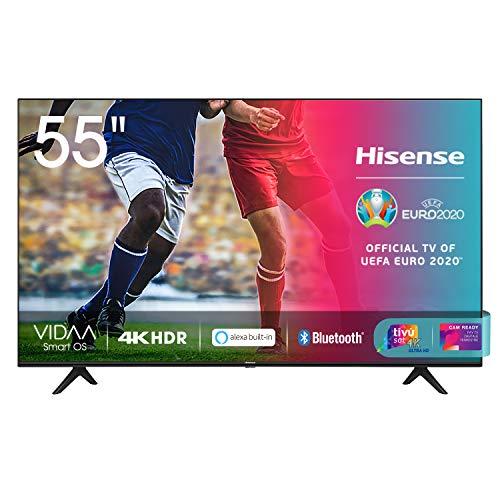 Hisense 55AE7000F - Smart TV LED Ultra HD 4K, HDR 10+, Dolby DTS, con Alexa integrata, Tuner DVB-T2/S2 HEVC Main10, Nero, 55