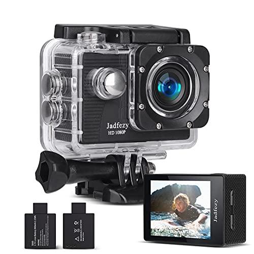 Jadfezy Action Camera 1080P FHD, Impermeabile Fotocamera Subacquea 30M, Sports Cam con Due 900mAh Batterie Ricaricabili e Kit Accessori