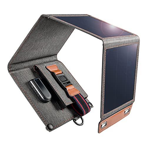 14W Caricabatterie Solare da Portatile e Impermeabile con Porta USB e 4 Pannelli Solari Pieghevoli per Smartphone, Tablet, Videocamera, Powerbank, Campeggio, Viaggi, Attività all'Aperto