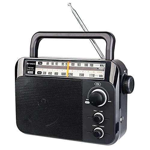 Retekess TR604 FM/AM Radio Portatile Radio con Altoparlante Grande Supporto Batteria Alcalina o Alimentazione CA Facile da Usare per Anziani