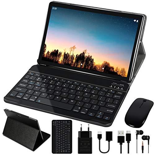 Tablet 10 Pollici 4GB RAM 64GB SSD ROM WiFi + Doppia SIM Lte Android 10 Pro GOODTEL Tablets Doppia Fotocamera   WiFi   IPS   Bluetooth   MicroSD 4-128 GB   con Tastiera Bluetooth e Mouse - Grigio