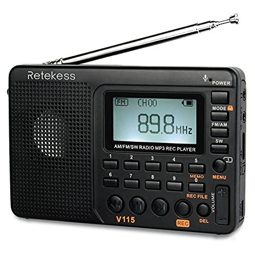 Retekess V115 Radio Portatile AM FM SW Radio Onde Corte, Radio Portatili, MP3 Player, Registrazione, Tempi del sonno, Stazioni negozio, Batteria Ricaricabile (Nero)