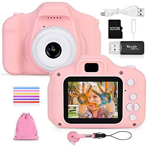 faburo Macchina Fotografica per Bambini con Scheda SD 32 GB, Macchina Fotocamera Bambini Portatile Digitale Portatile Digital Camera Kids Videocamera Regalo di Compleanno per Bambini(Rosa)