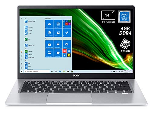 Acer Swift 1 SF114-33-P0HB PC Portatile, Notebook, Processore Intel Pentium N5030, Ram 4 GB, 128 GB SSD, Display 14