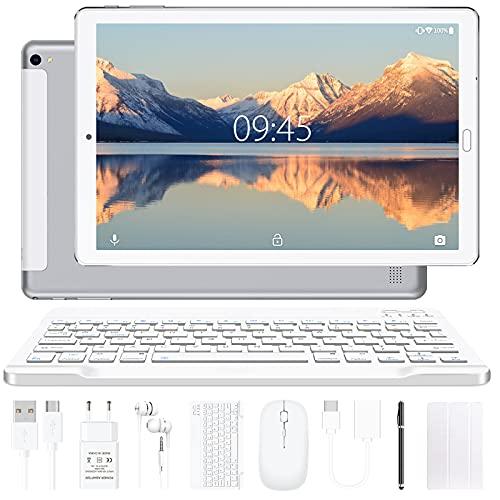 YESTEL Tablet 10 Pollici Tablet Android 10.0 con 4 GB di RAM + 64 GB di Rom - WiFi   Bluetooth   GPS, 8000 mAh, con Mouse   Tastiera e Cover-Argento