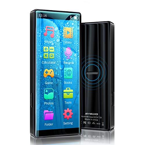 Lettore MP3 MYMAHDI, schermo ad alta risoluzione e full touch, lettore audio lossless HiFi con bluetooth 5.0, radio FM, registratore vocale, Supporta fino a 128 GB , Nero