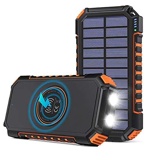 Hiluckey Caricabatterie Solare 26800mAh con 4 USB Batteria Esterna Portatile USB C Power Bank Senza fili Impermeabile con 2 Luci LED per Smartphones, Tablets (Orange)
